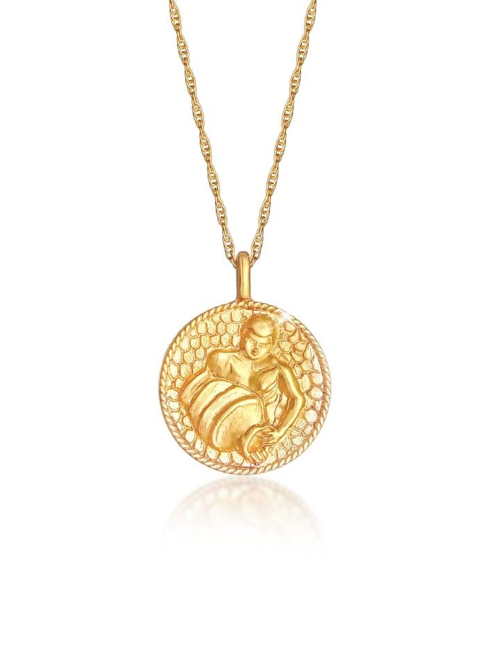 Elli Halskette Sternzeichen Wassermann Münze 925 Silber, Gold