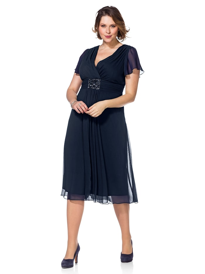 Sheego Abendkleid mit  Alloverdruck, dunkelblau