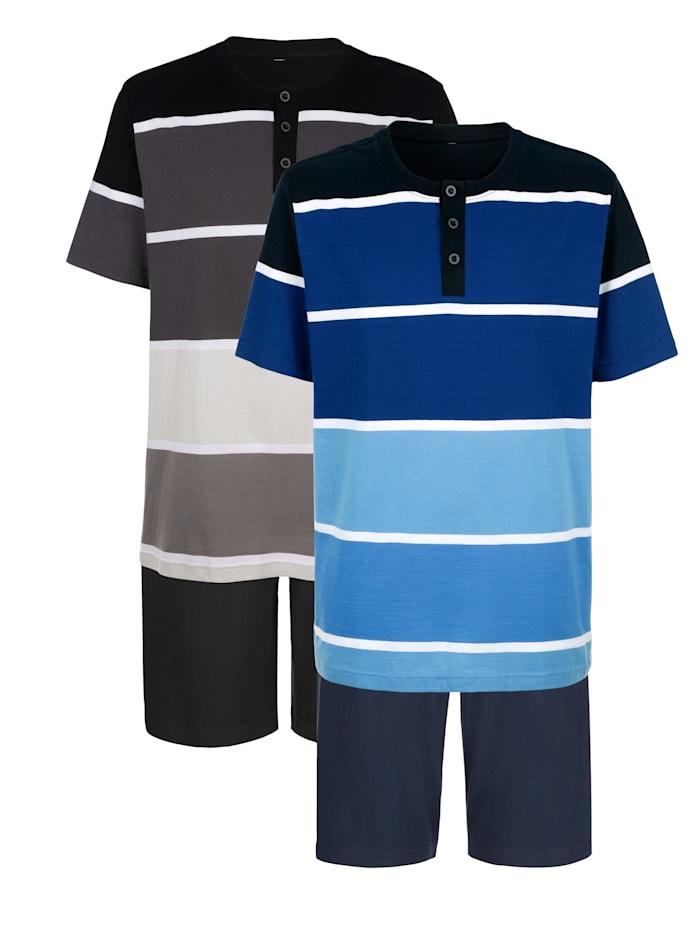 Pyjashorts à motif rayé tissé teint, Noir/Bleu
