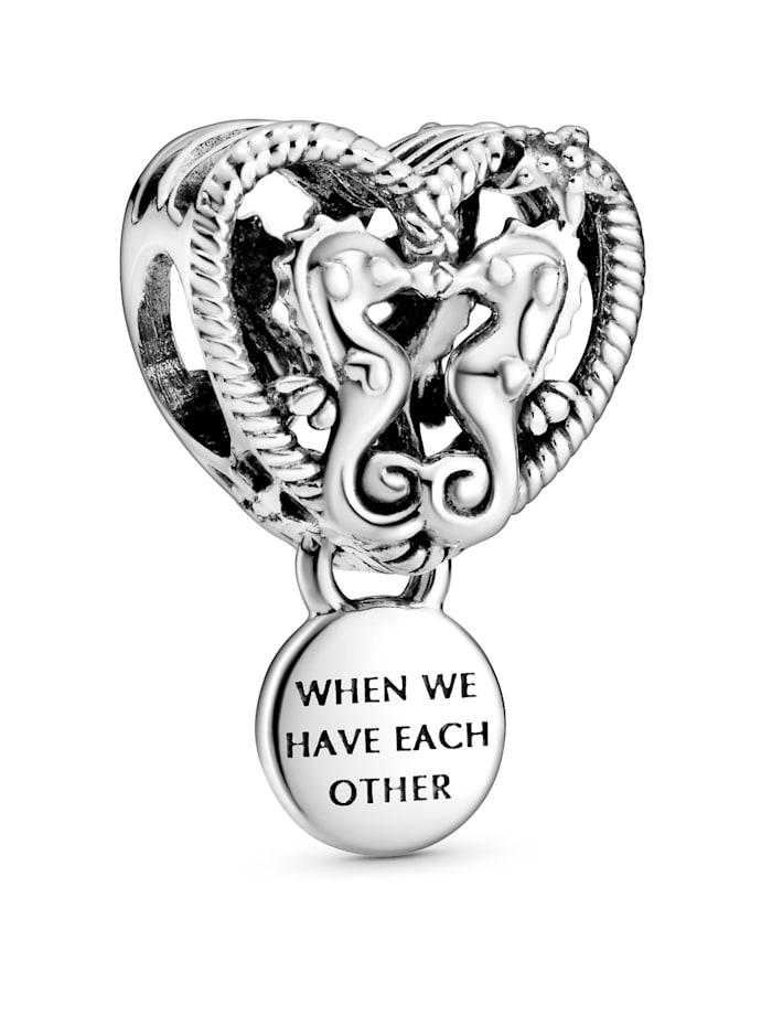 Pandora Charm - Offen gearbeitetes Seepferdchen und Herz - 798949C00, Silberfarben