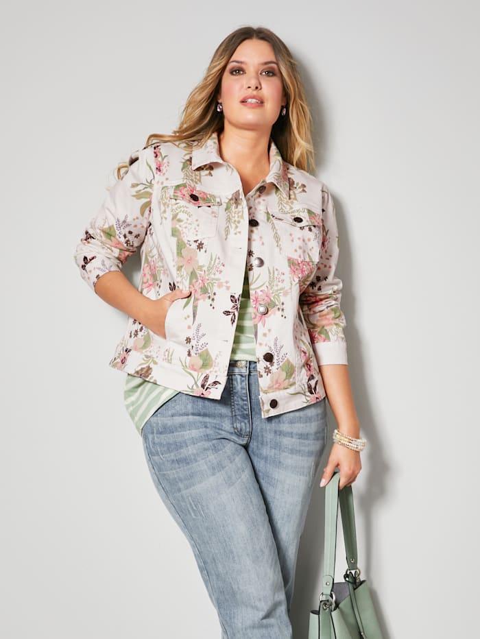 Janet & Joyce Jeans-Jacke floral bedruckt, Off-white/Jade/Apricot