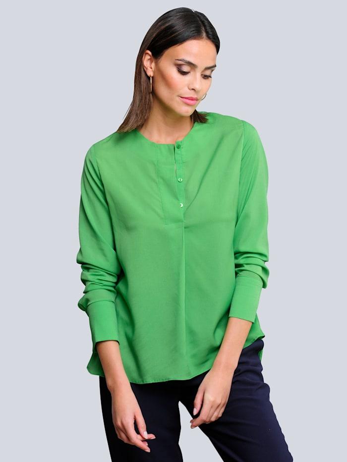 Alba Moda Bluse mit kurzer verdeckter Knopfleiste, Grün