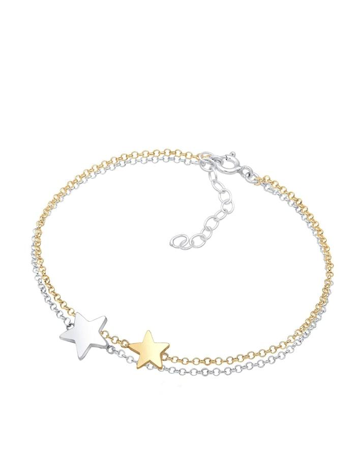 Armband Bi-Color Astro Layer Sterne Erbskette 925Er Silber