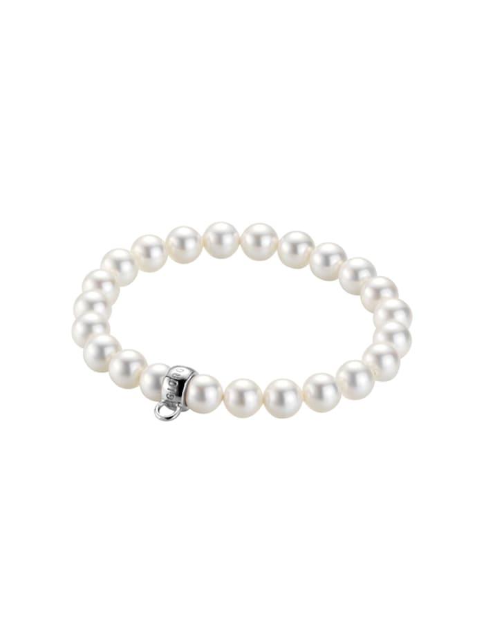 Giorgio Martello Charm Armband mit Muschelkern Perlen, Weiss