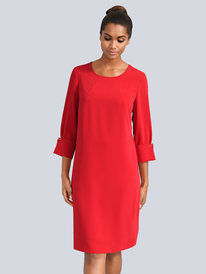 Alba Moda Kleid mit aufwendiger Manschetten-Lösung, Rot