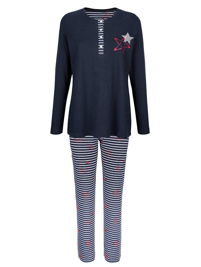 Blue Moon Pyjama à patte boutonnée rayée, Marine/Blanc/Rouge