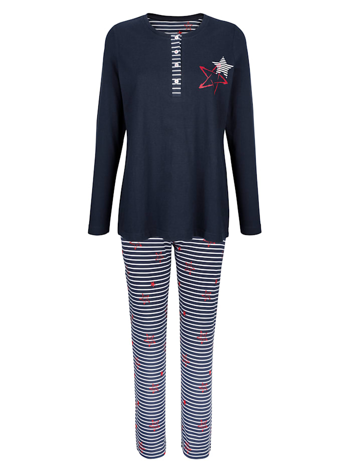 Blue Moon Pyjama met gestreepte knoopsluiting, Marine/Wit/Rood