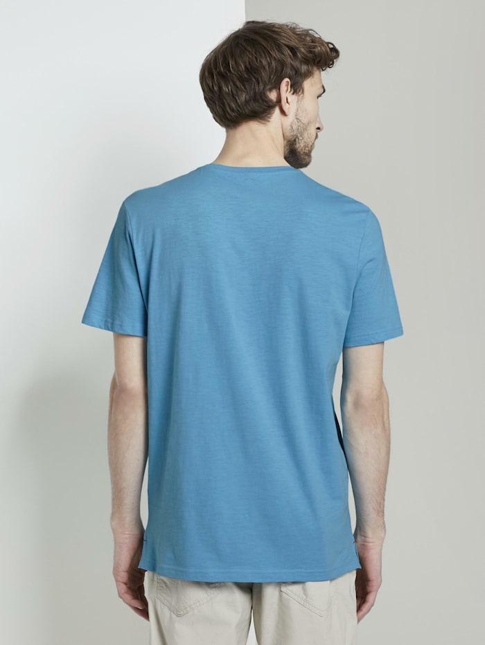 Basic Henley-T-Shirt in Melange-Optik