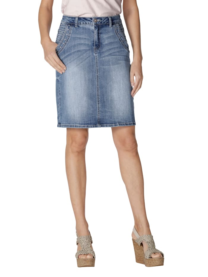 Cream Jupe en jean avec rivets, Bleu