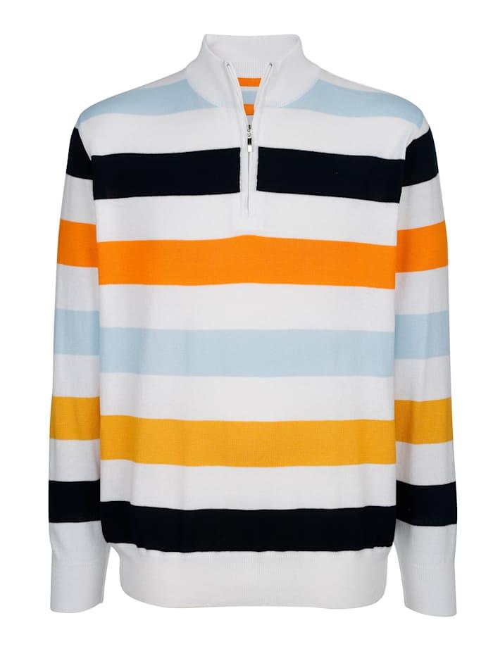 Roger Kent Pulóver z pohodlného mixu bavlny, Biela/Oranžová/Modrá