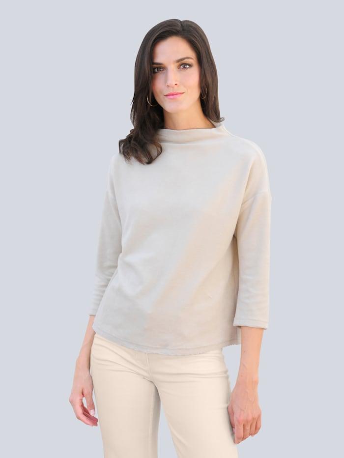 Alba Moda Shirt mit rückwärtiger Knopfleiste, Creme-Weiß