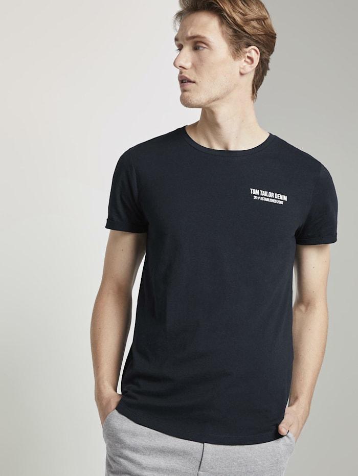 Tom Tailor Denim T-Shirt mit schlichtem Print, Sky Captain Blue Non-Solid