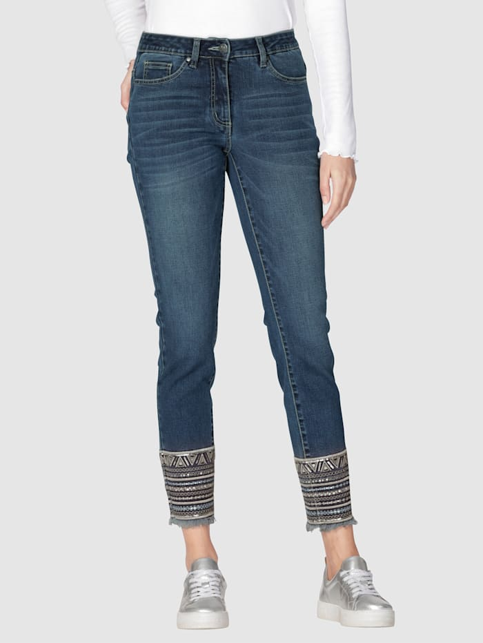 AMY VERMONT Jeans Mit Stickerei am Saum, Dark blue