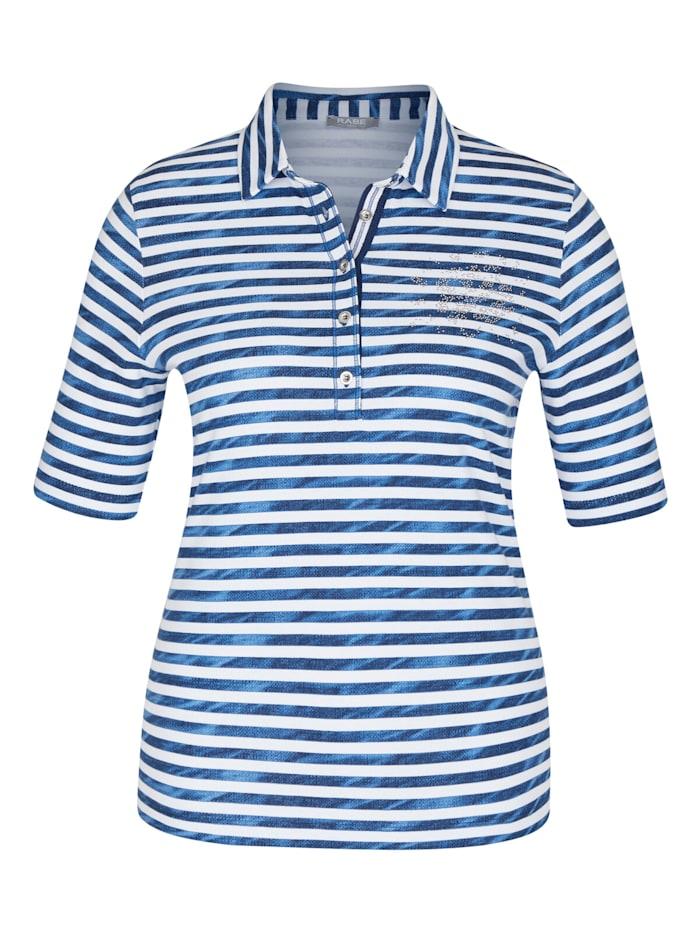Rabe Shirt mit gestreiftem Muster und Strass-Steinen, JEANSBLAU