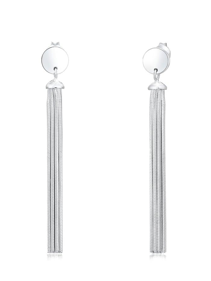 Elli Ohrringe Hänger Schlangenkette Kreis Basic Geo 925Er Silber, Silber