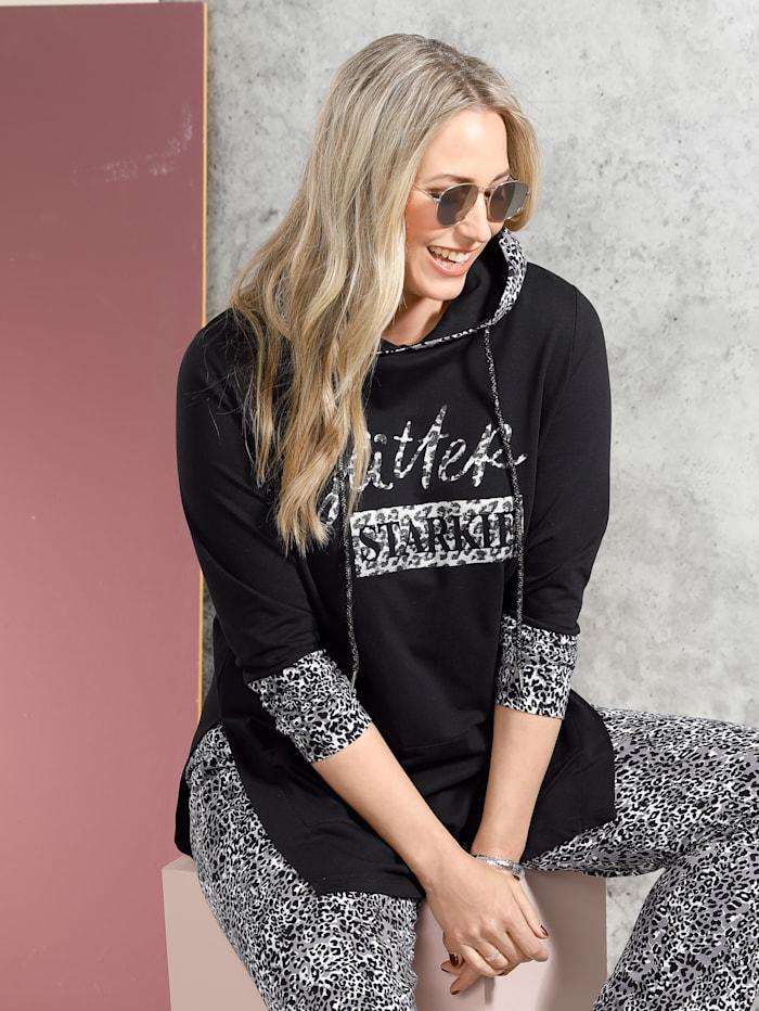 MIAMODA Sweatshirt mit Kapuze, Schwarz