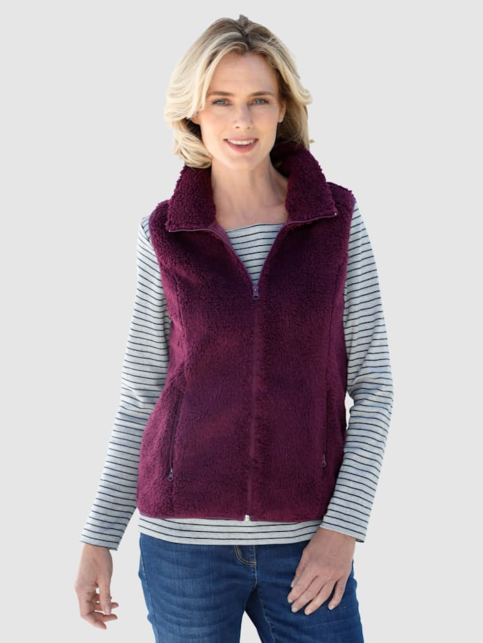 Dress In Bodywarmer met pluizige buitenkant, Berry