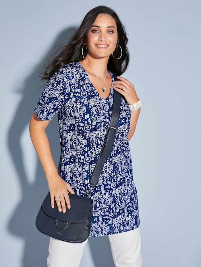 MIAMODA Longshirt mit Alloverprint, Blau/Weiß