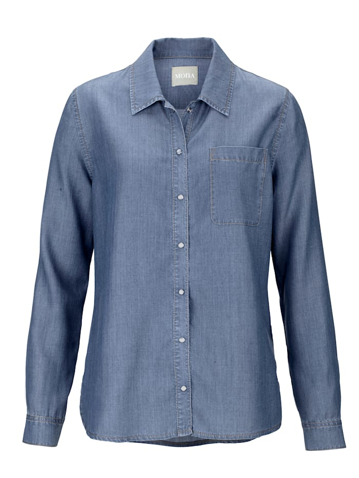 Blouse made from soft faux denim