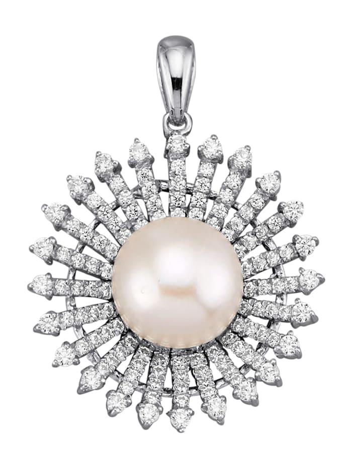 Diemer Perle Anhänger mit weißen Süßwasser-Zuchtperl-Bouton, Weiß