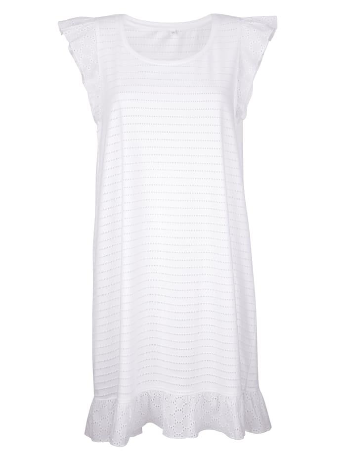 Simone Nachthemd mit süßem Volantsaum, Weiß