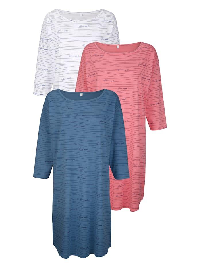 Blue Moon Nachthemden mit leicht überschnittener Schulter, Ecru/Koralle/Blau