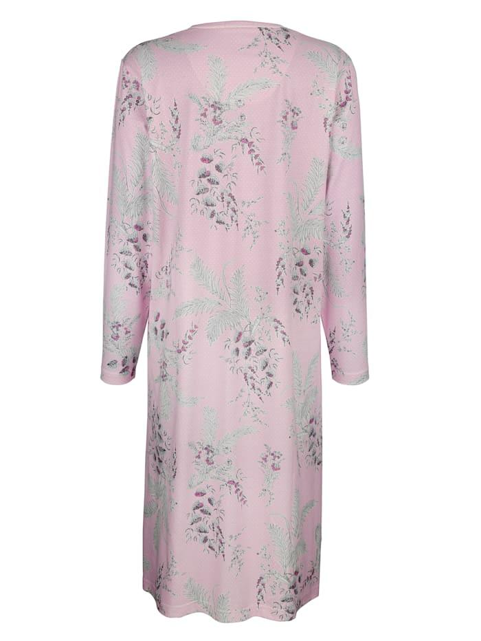 Nachthemd met fraai stippen- en bloemendessin