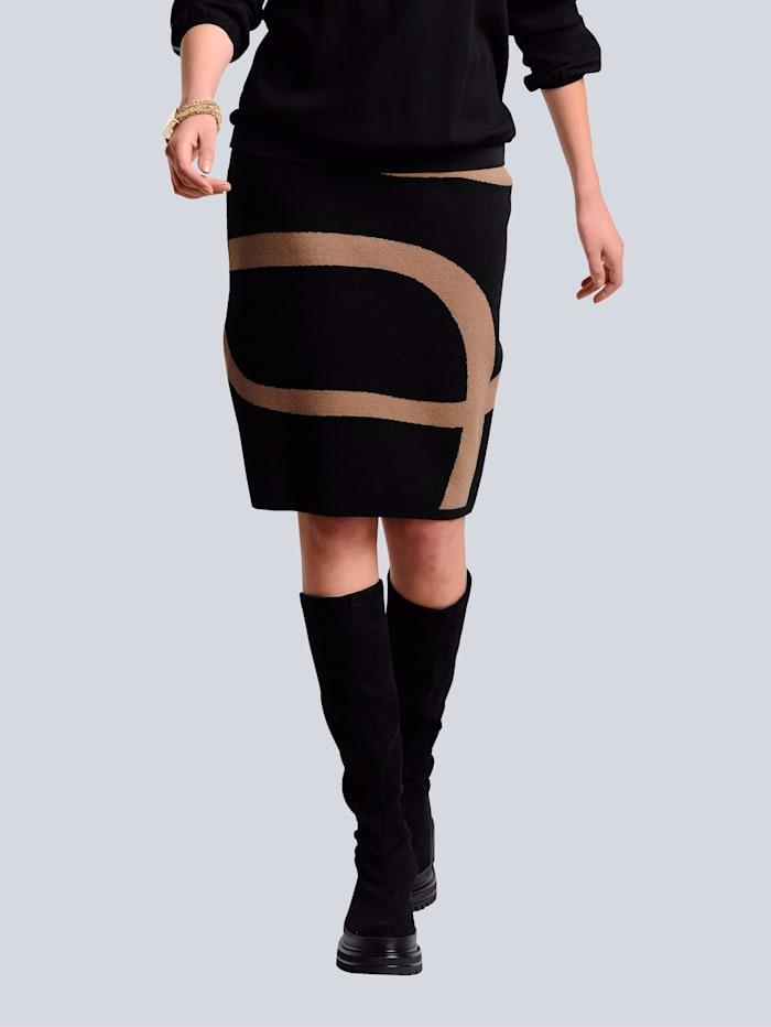 Alba Moda Gebreide rok met grafisch patroon rondom, Zwart/Cognac