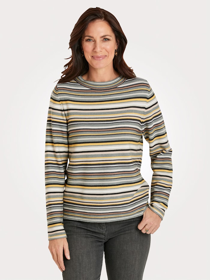 Rabe Pullover, Hellgrau/Gelb
