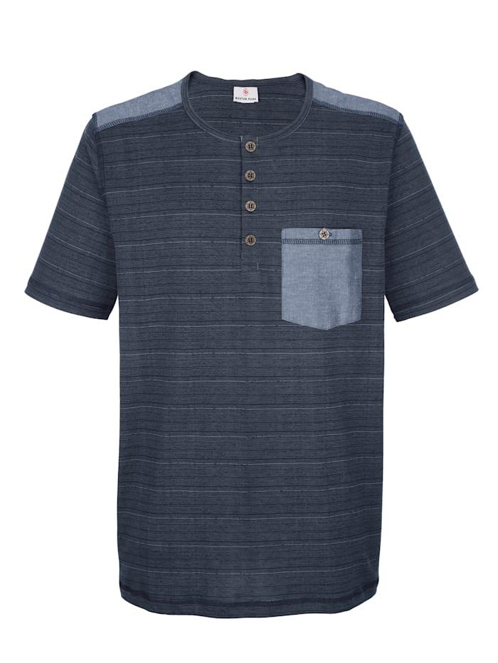 Boston Park T-Shirt mit Chambray-Besätzen, Dunkelblau
