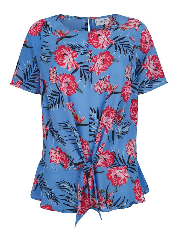 Dress In Blouse met modern geknoopt detail, Blauw