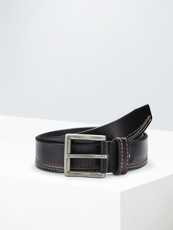 Paddock's Ledergürtel mit kontrastfarbigen Ziernähten, black