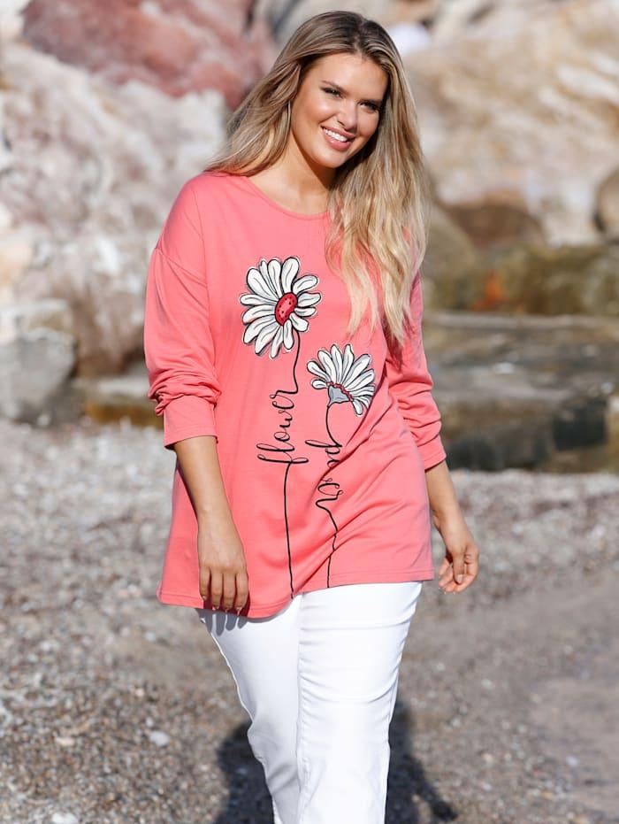 Janet & Joyce Sweat-shirt à imprimé fleuri, Corail/Blanc