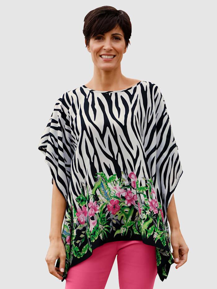 Paola Cafetan avec base à imprimé fleuri, Noir/Blanc/Cyclamen