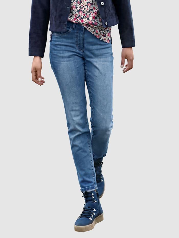 Dress In Jeans met knoop te sluiten, Blue bleached