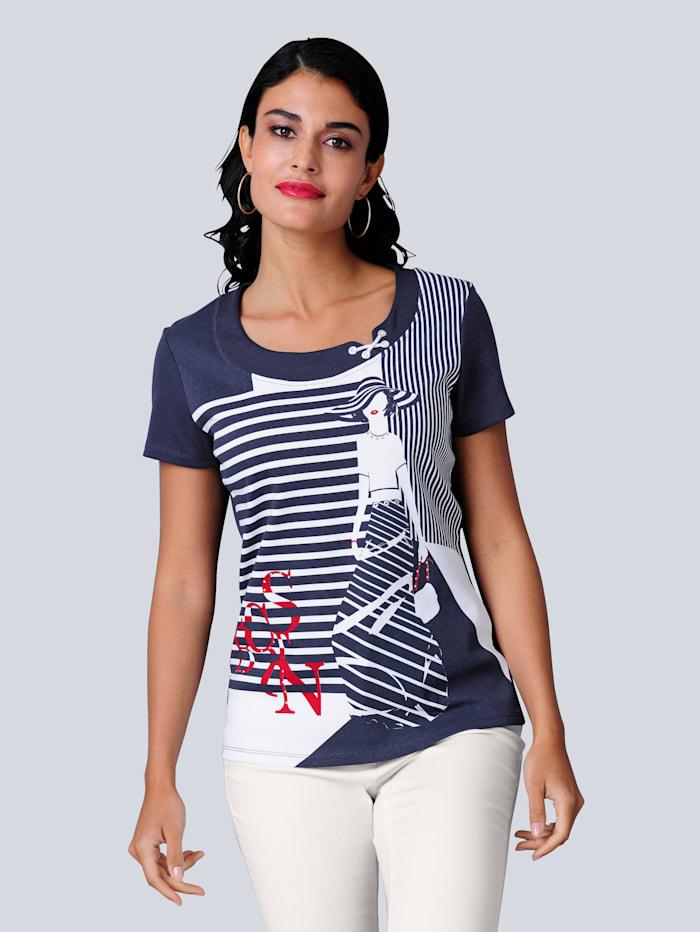 Alba Moda Shirt met opvallende print voor, Marine/Rood