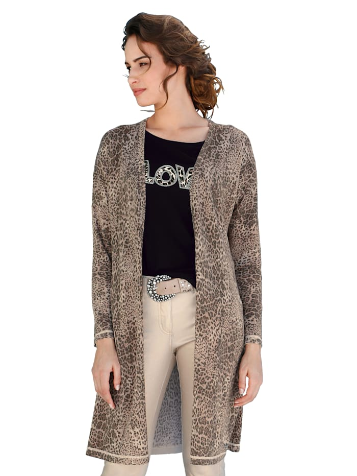 AMY VERMONT Cardigan im Allover-Animaldruck, Braun/Beige