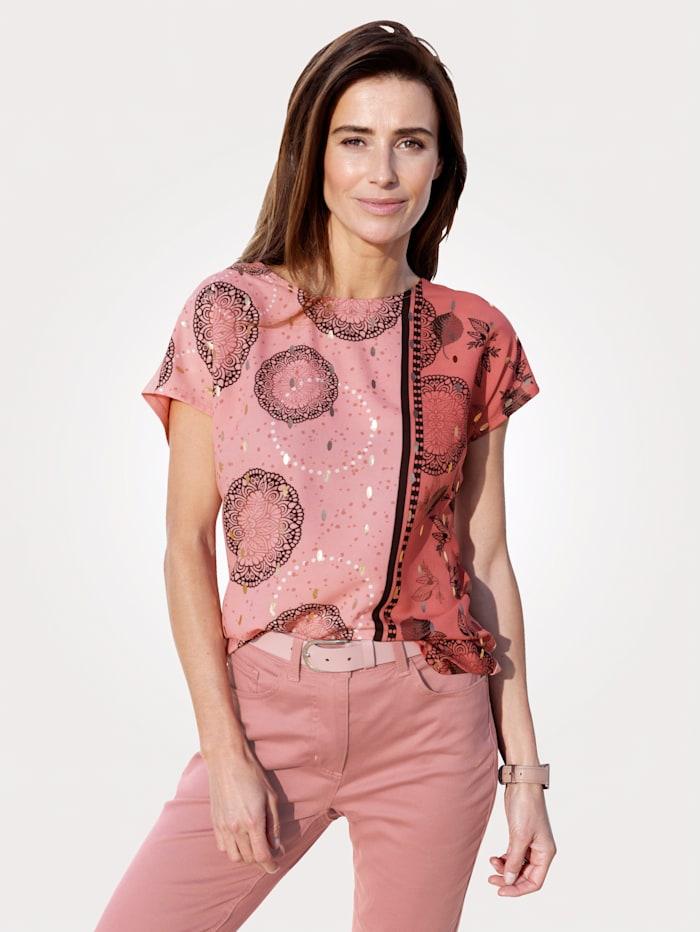 MONA Shirt met folieprint, Oudroze
