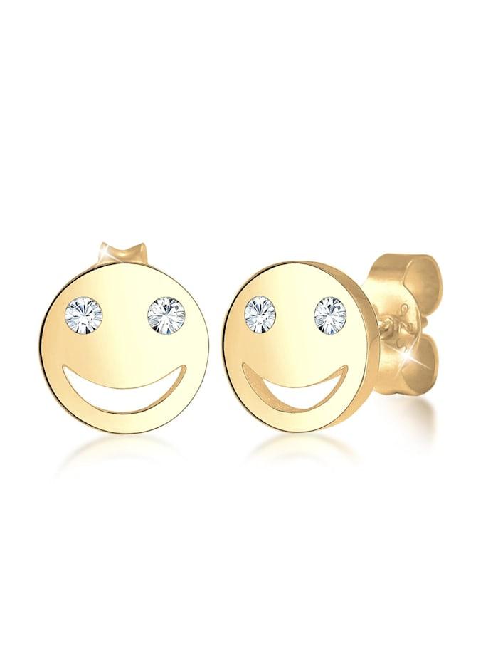 Elli Ohrringe Smiley Face Emoji Kristalle 925 Silber, Gold