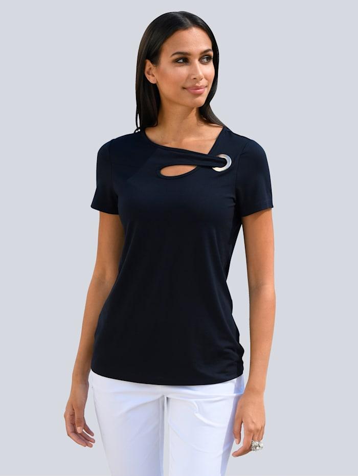 Alba Moda Shirt mit modischem Ausschnitt, Marineblau