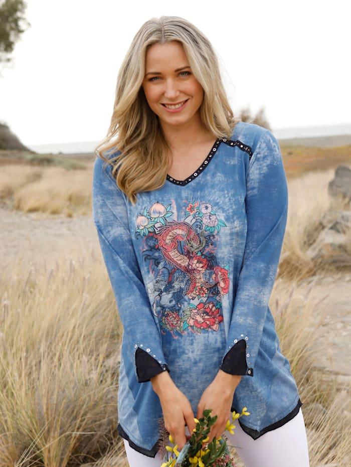MIAMODA Shirt mit platziertem Druck und Strassteinen, Blau