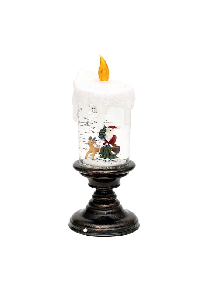 Sigro LED Kerze auf Fuß mit Santa, Bunt
