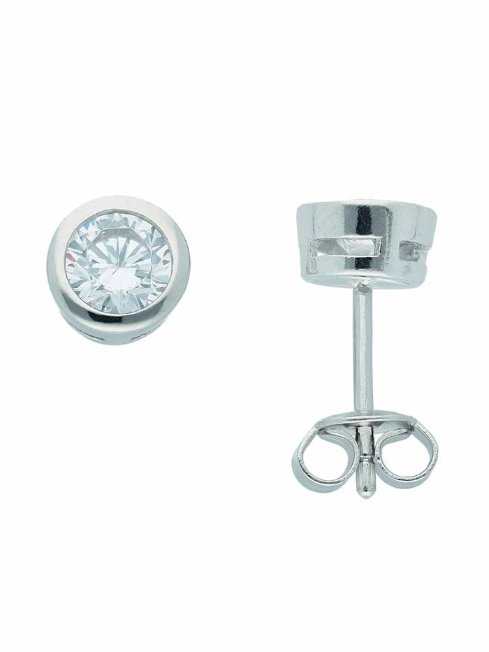 1001 Diamonds 1001 Diamonds Damen Silberschmuck 925 Silber Ohrringe / Ohrstecker mit Zirkonia Ø 6,5 mm, silber
