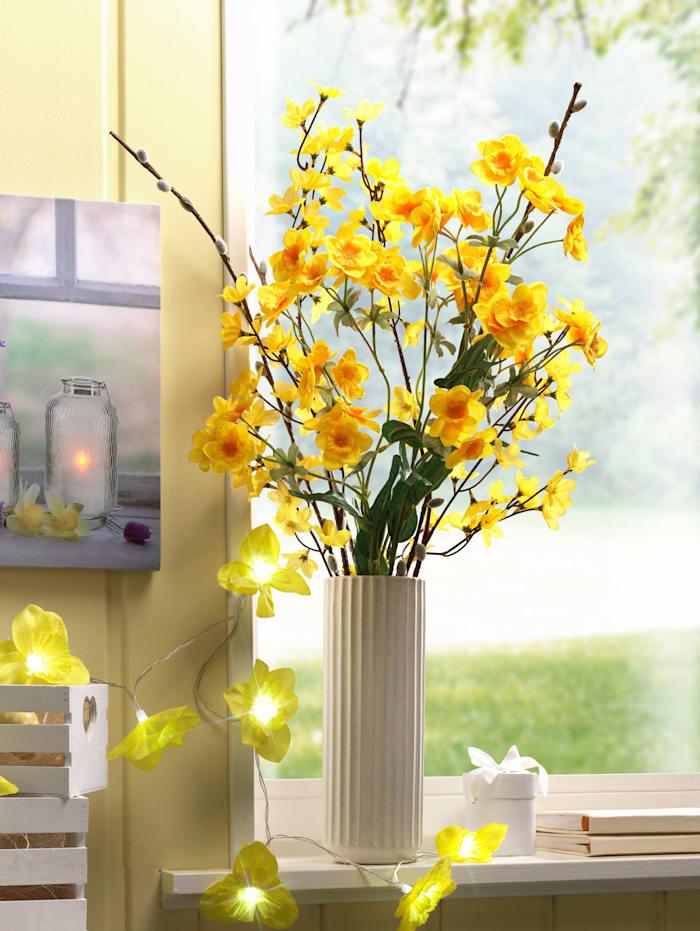 Narzissenstrauß mit Vase, Gelb