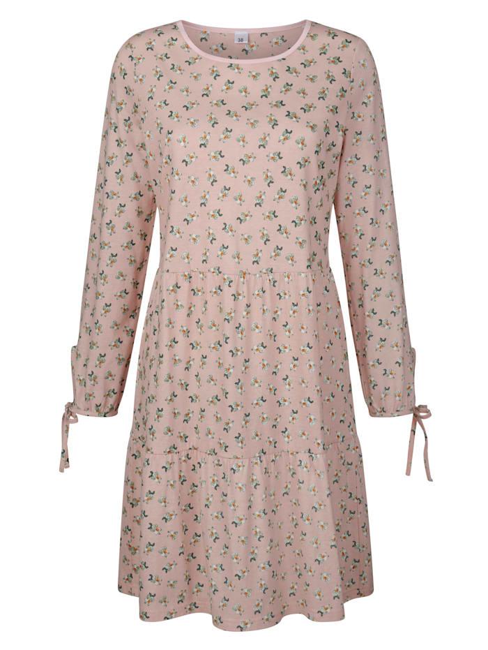 Simone Nachthemd met satijnen paspel langs de hals, Roze/Ecru/Groen