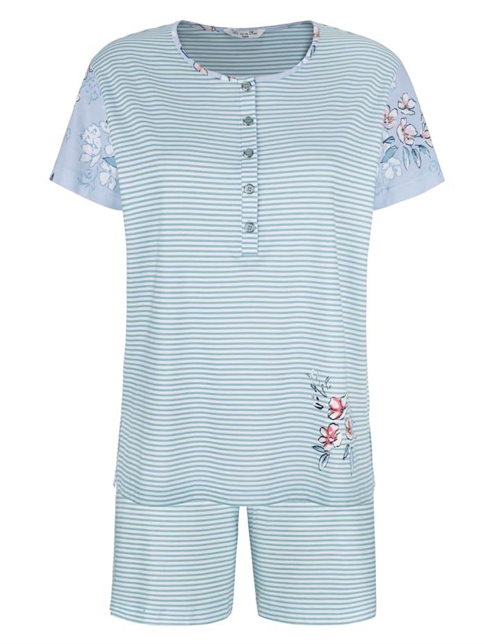 MONA Pyjamas med blommotiv på ärmarna, Ljusblå