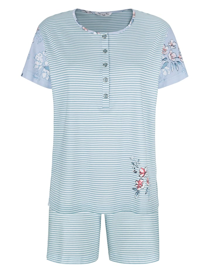 Shortama met mouwen met bloemendessin, Lichtblauw