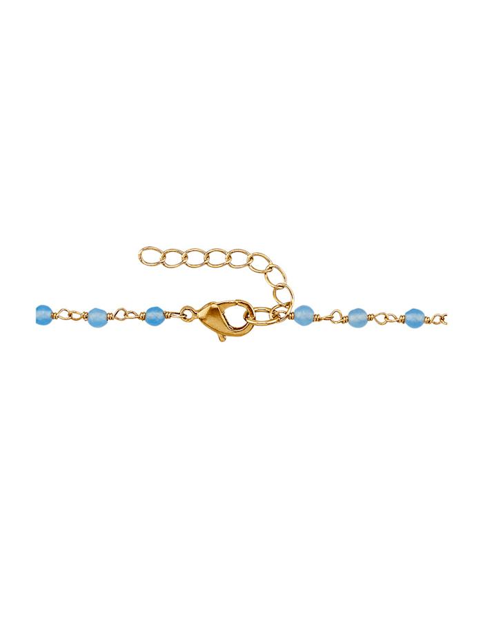Halskette mit Quarz und Chalcedon, Blau