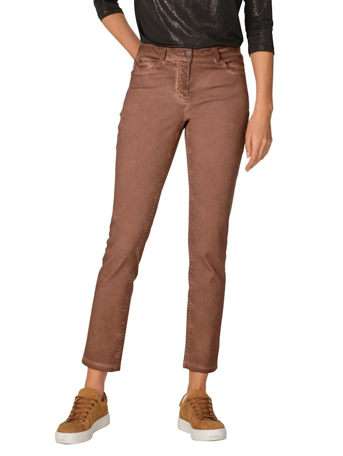 AMY VERMONT Jeans in used-Optik, Cognac