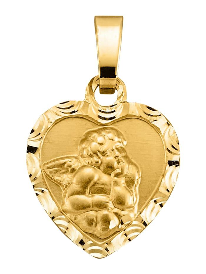 Diemer Gold Herz-Anhänger mit Engel-Motiv, Gelbgoldfarben